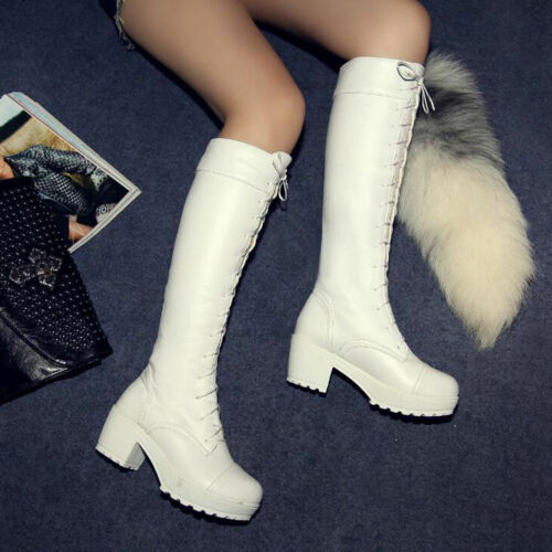 Hot Women Punk Knee High Boots Chunky Platform Goth Combat Lace Up High Wedge