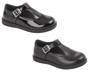 Filles École Chaussures Noir Barre en T Chaussures Patent /& Synthétique Avec Boucle UK 6-12