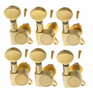 6 right gold electric guitar string tuning pegs tuners machine heads peg ebay. Black Bedroom Furniture Sets. Home Design Ideas
