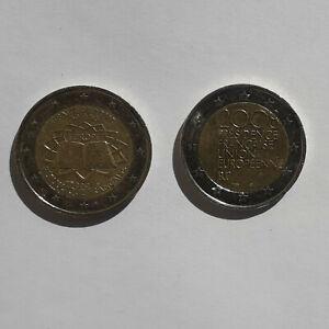 LOT de 2 Pièces commémoratives 2 euros - FRANCE 2007 et 2008 - occasion