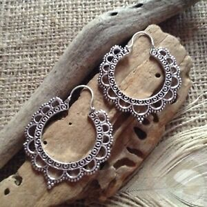 a6e7d0645 Image is loading Large-Hoop-Earrings-Silver-Plated-Brass-Indian-Filigree-