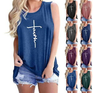 Women Faith Letter Sleeveless Tank Tops T Shirt Summer Casual Loose Tunic Blouse