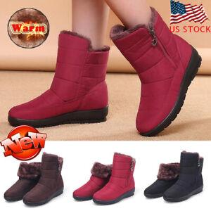 Women-Winter-Waterproof-Zipper-Warm-Fur-Lined-Ankle-Snow-Boots-Casual-Shoes-SIZE