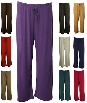 New Womens Wide Leg Paints Baggy Flared Ladies Plus Size Palazzo Trousers 12-28