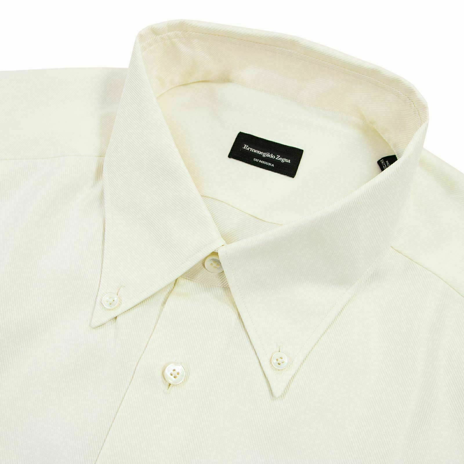 NWOT Zegna Su Misura Cream baumwolle Twill MOP Button Down Dress hemd 18US