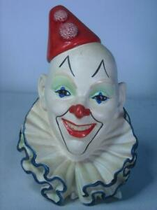 Legend Products CLOWN No 5 + Label 8 Photos  Plaster Chalkware Head Wall Plaque