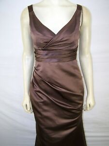 6fcfaeadc3b Image is loading Bill-Levkoff-Brown-Sleeveless-V-Neck-Long-Bridesmaid-