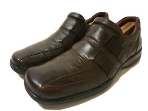 aldo mens brown leather slip on casual dress shoes size 10