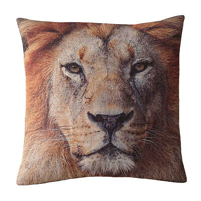 Hot Home Decor Vintage Lion Mountain Forest animal printed square pillow case