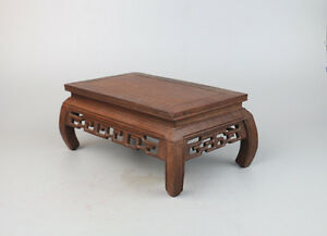 bonsai-stand-display-brown-Jichi-hard-wood-Chinese-4-leg-rectangle-base