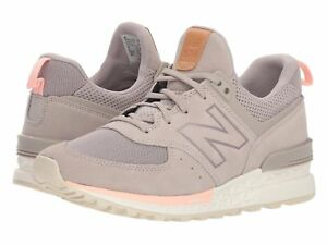 New Balance 574 Sport in Flat White with Himalayan Pink