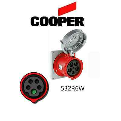 IEC 309 532P6W Plug 4P//5W Red Cooper # AH532P6W 32A 220//380V