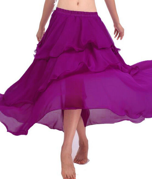 Women Lady Hot Spiral Skirts 3 Layer Circle Belly Dance Costume Boho   25 Colors