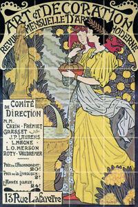 24 x 36 Art Nouveau Ceramic Mural Backsplash Bath Tile ...