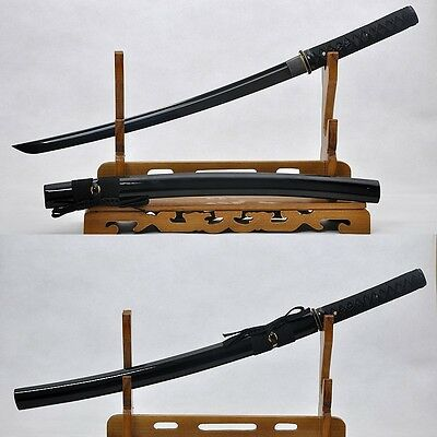 FULL TANG BALCK BLADE TRADITIONAL HAND MADE JAPANESE SAMURAI WAKIZASHI SWORD