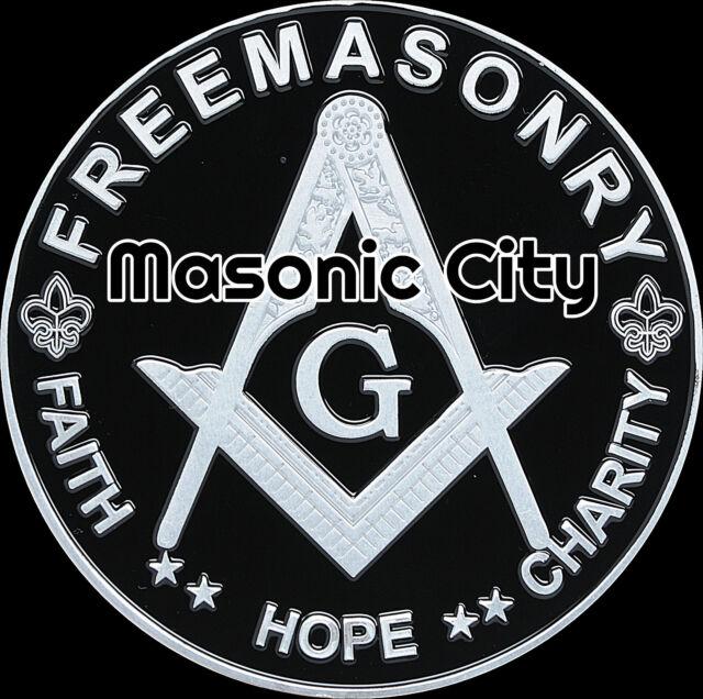 A-337 Black/Silver Masonic Auto Emblem  Car Mason Freemason PHA AF&AM F&AM