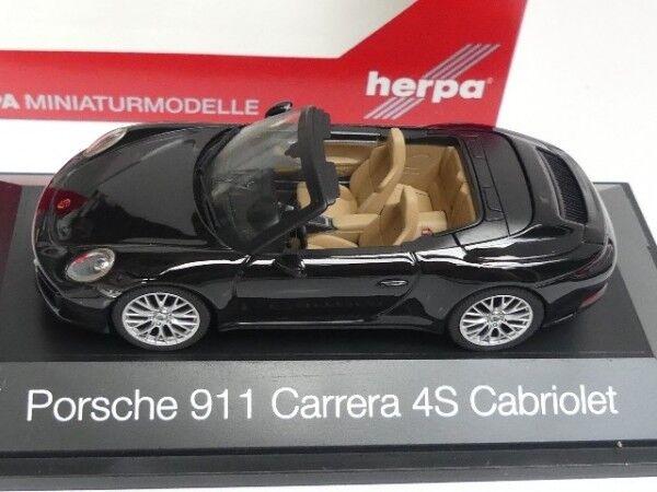 Herpa 071062 Porsche 911 carrera 4s cabrio en negro 1:43 nuevo /& OVP