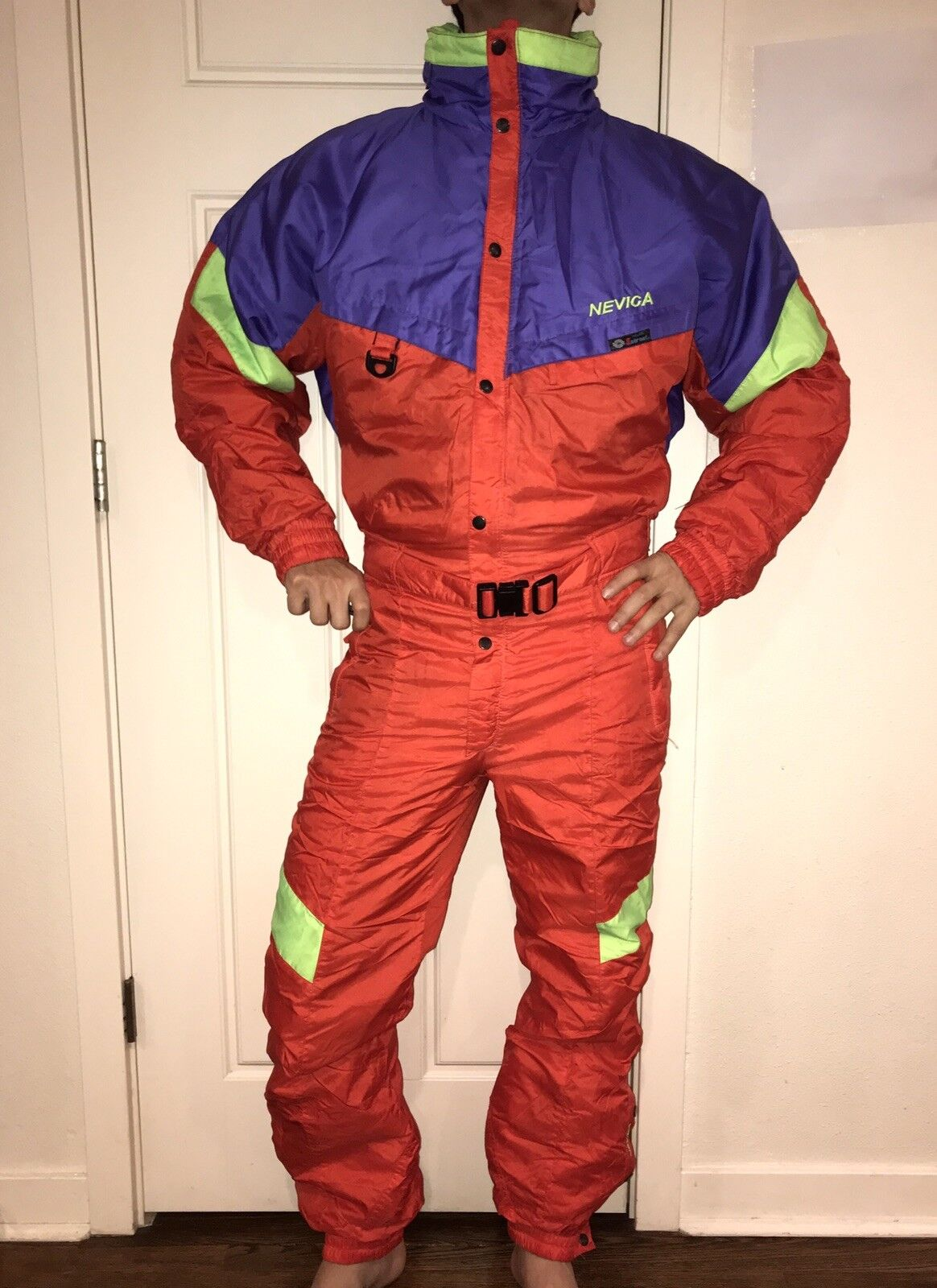 Vtg arancia 80s 90s arancia Vtg NEVICA Uomo Medium One Piece SKI SUIT Snow Bib Snowsuit 40 M f9c6cb
