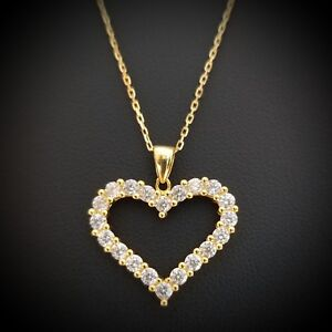 Women-14k-Yellow-Gold-Over-Sterling-Silver-Round-Diamond-Heart-Pendant-Necklace