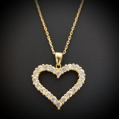 Femmes 14k Or Jaune Sur Argent Sterling Rond Diamant Cœur Collier Pendentif