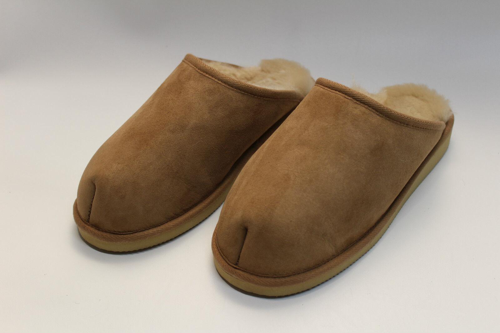 Zapatillas de casa, zapatillas en auténtico cordero cordero auténtico con suela, marrón oscuro 37-46 32cefd