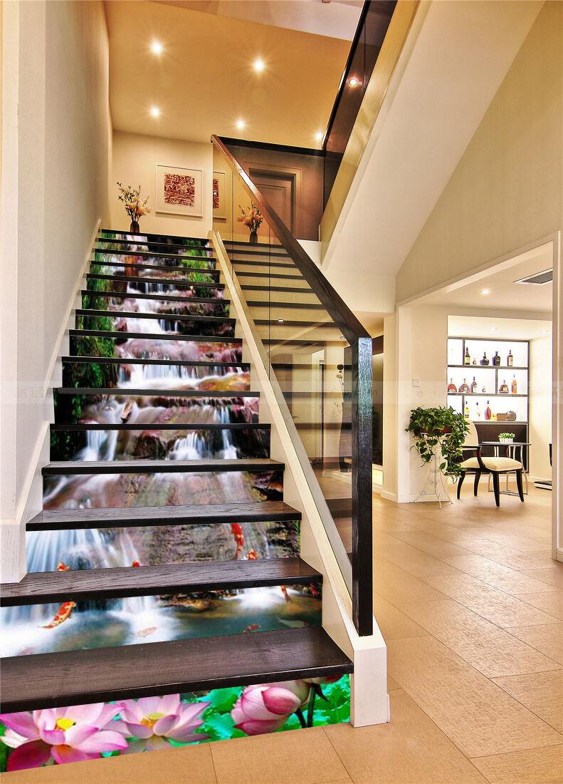 3D Lotus Teich 52 Stair Risers Dekoration Fototapete Vinyl Aufkleber Tapete DE