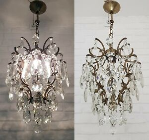 Matching-Pair-of-Antique-Vintage-Brass-amp-Crystals-Cage-Style-Small-Chandelier