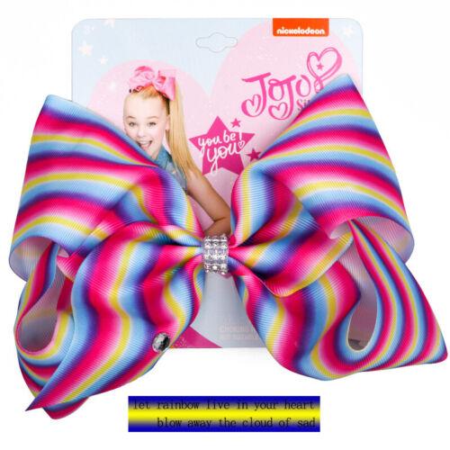 "NEW 8/""Cartoon JoJo Siwa Rainbow Hair Bow With Alligator Clip Girl Kids Bowknot"