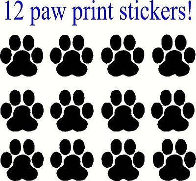12 Paw Print Decals, Sticker, Car, Truck, Window, lap top, Bumper, 24 colors q
