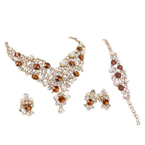 fc7c91ba7 Details about Luxury Crystal Bridal Pearl Alloy Necklace Earrings Party Jewelry  Set Women Gift