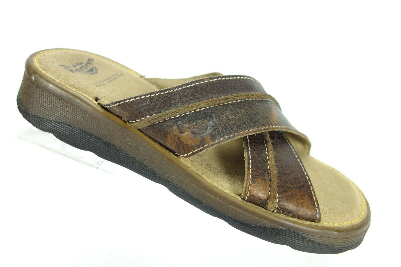 DR. Doc Martens Brown Leather X Strap OpenToe Sandal Flip Flop Slides Mens Sze 8