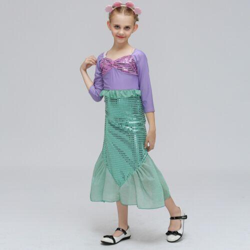 Girls Little Mermaid Costume Child Ariel Fairytale Fancy Dress Kids Party Outfit