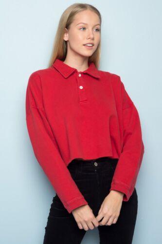 brandy melville red oversize crop collared 1/4 zip cotton jones sweatshirt S/M