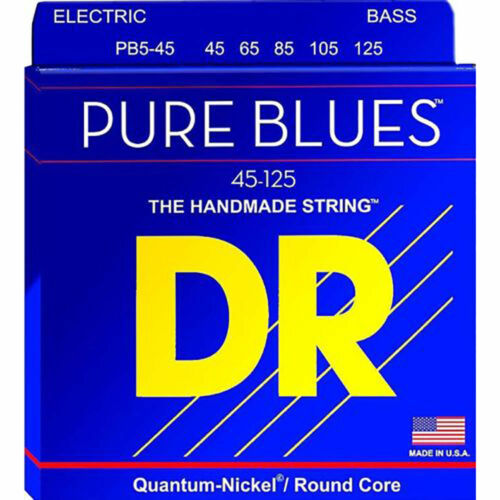 DR PB5-45 Pure Blues Nickel Round core 5 string Bass Guitar Strings 45-125 MED