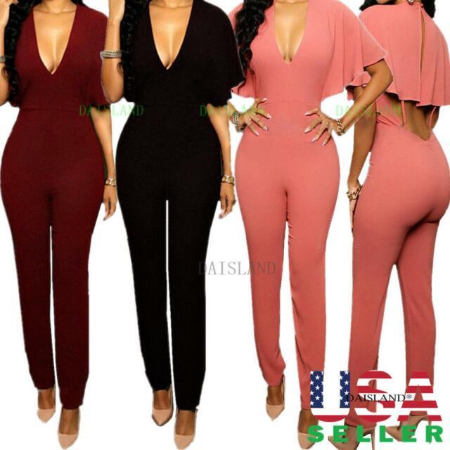 Women Ladies Clubwear Playsuit Bodycon Party Jumpsuit Romper Trousers Long Pants