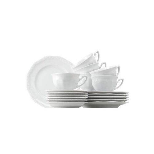 ROSENTHAL Maria Weiß 6 Personen Kaffee-Service-Set 18-teilig Porzellan weiss