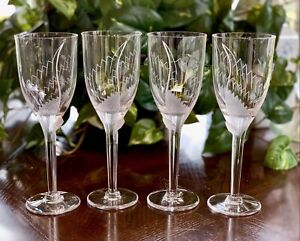 4-Lalique-Angel-Champagne-Flutes-Signed-Mint-Retail-2-100-Gift-Boxed