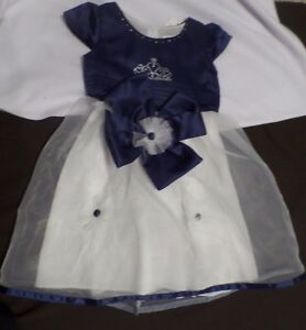 Girl-039-s-Navy-Blue-amp-white-Dress-by-Vogue-Fashions-Size-5-NWT