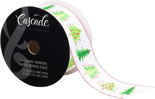 "Cascade Satin Ribbon W//Wired Edge 2.5/""X15yd-White /& Green W//Red Glitter"