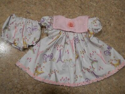 """TINY PINK GINGHAM  OUTFIT VINTAGE CHATTY CATHY 18-20/"""" HANDMADE  2 PC"""