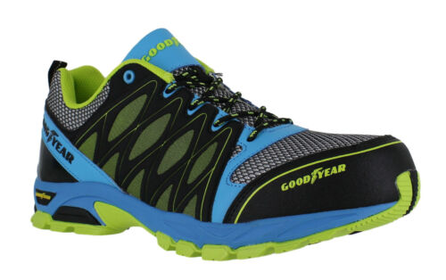 Goodyear Mens Black Blue Safety S1 SRA Composite Metal-Free Toe Cap Trainers
