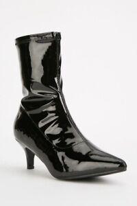 PUNK-GOTH-ROCK-URBAN-BLACK-KITTEN-HEEL-PVC-BOOTS-POINTY-TOE-SIZES-5-7