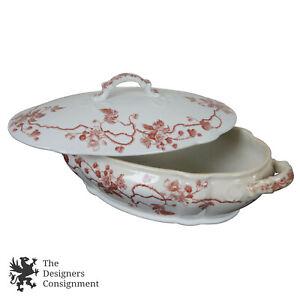 Antique Lidded Handled Dish English Transferware Tureen Ernst Bohne & Sohne?