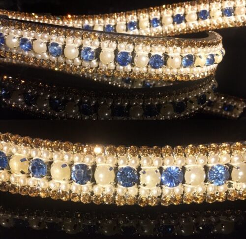Bling Crystal Stone /& Pearl LUXE Ice Dressage Browband vente Bargain