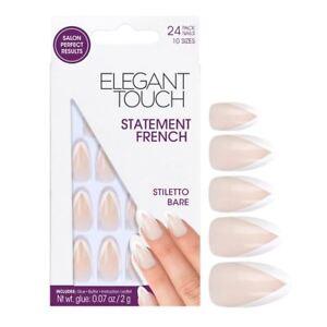 Elegant-Touch-False-Nails-Statement-French-Stiletto-Bare-24-Nails