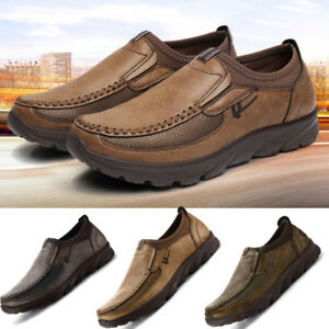 Mens-Summer-Leather-Casual-Shoes-Breathable-Antiskid-Loafers-Anti-slip-Moccasins