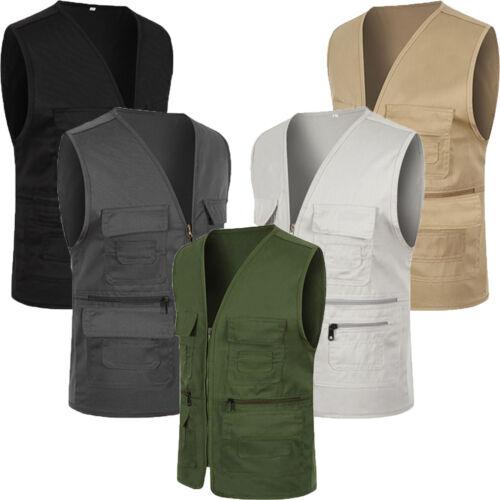 Mens Multi Pockets Utility Vest Fishing Travell Waistcoat Hiking Gilet Jacket UK