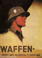 German WW2 Wehrmacht Waffen SS Officer large Poster Anton