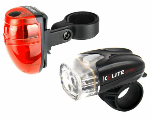 Q-lite Bike Bicycle Front and Rear 3 LED Lights Kit with Battery