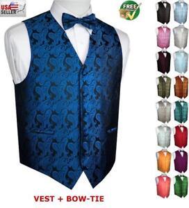 MEN/'S ROYAL BLUE PAISLEY FORMAL DRESS TUXEDO VEST /& BOW-TIE SET WEDDING PROM